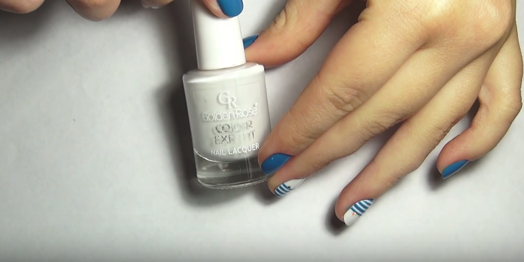 white polish for striped nails