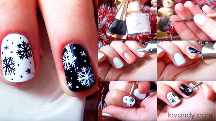 black and white New Year nails