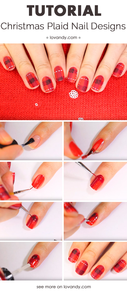 How To Create Christmas Plaid Nail Design