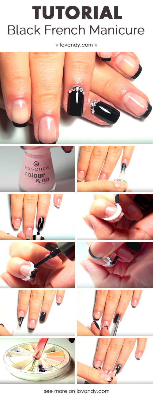 how to do a black french manicure