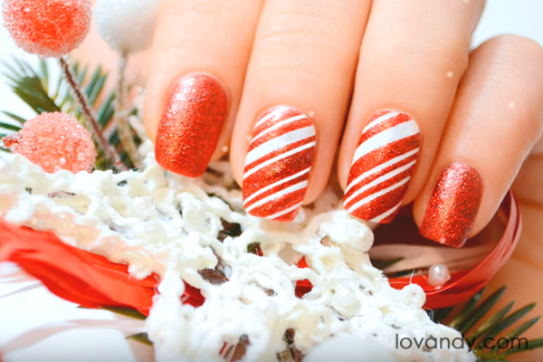 easy to do candy cane nails