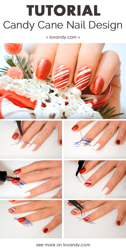 candy cane nails tutorial