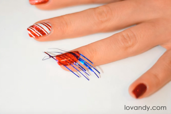 candy cane nail art with tape