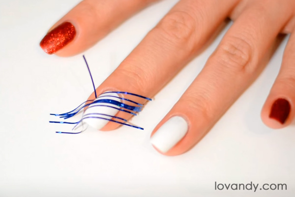 candy cane nails using tape