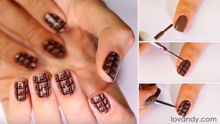 Chocolate Brown Nail Art Tutorial