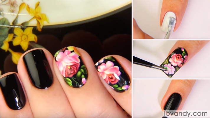 manicure with flower stickers