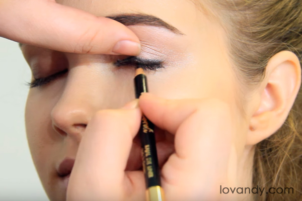 go through eyelashes with your pencil