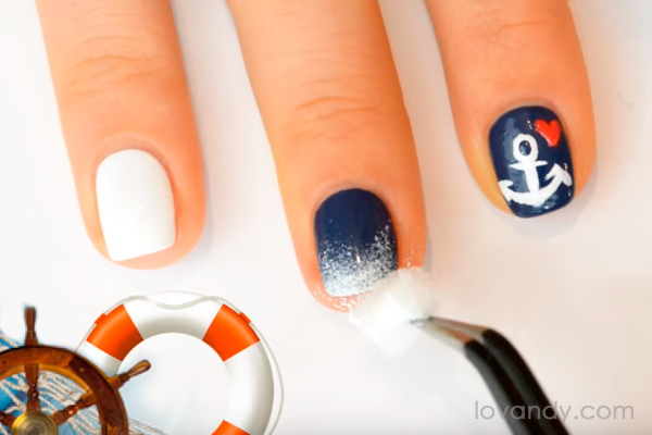 Diy how to make cute anchor nail design take a small piece of sponge prinsesfo Gallery