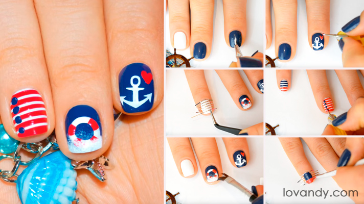 Beautiful Anchor Nail Design