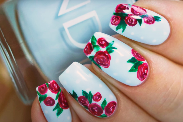 flower-themed nail art